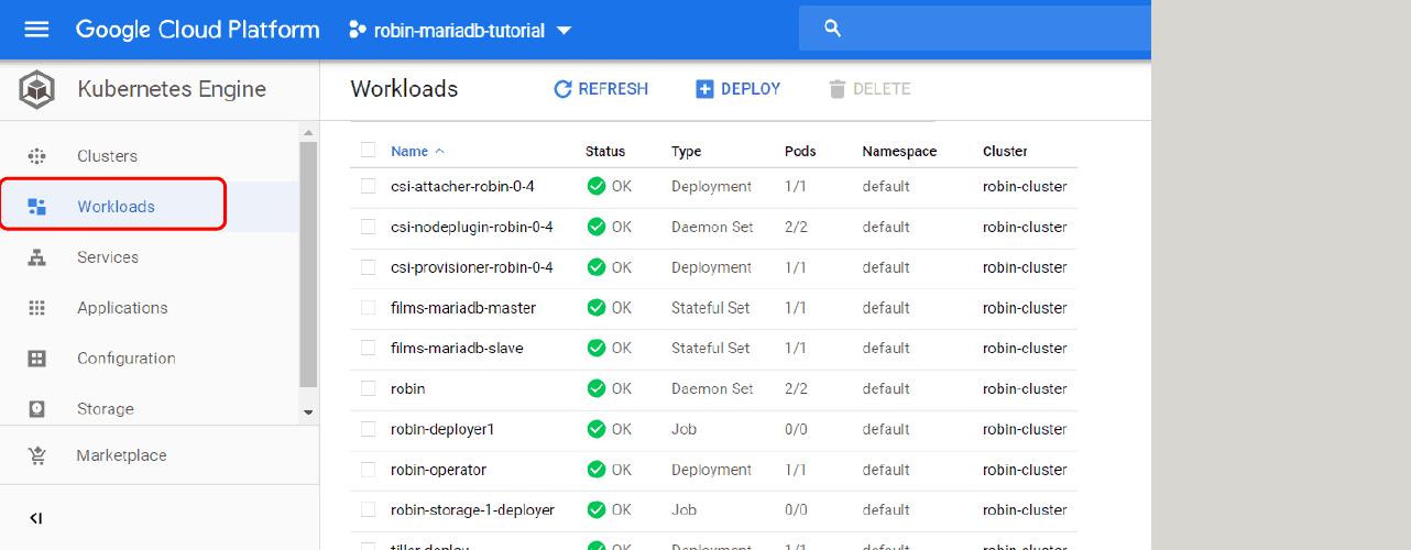 Advanced Data Management for Kubernetes - Deploy MariaDB on GKE using Helm | Get ROBIN Storage on Google Cloud Marketplace for Stateful workloads