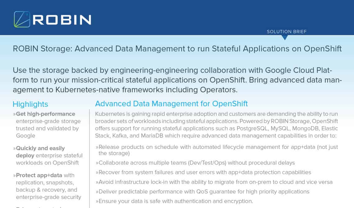 Stateful Applications On Openshift Advanced Data Management